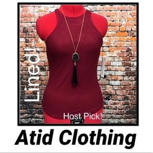 Host Pick!  Atid LINED Recall Top- Red Wine